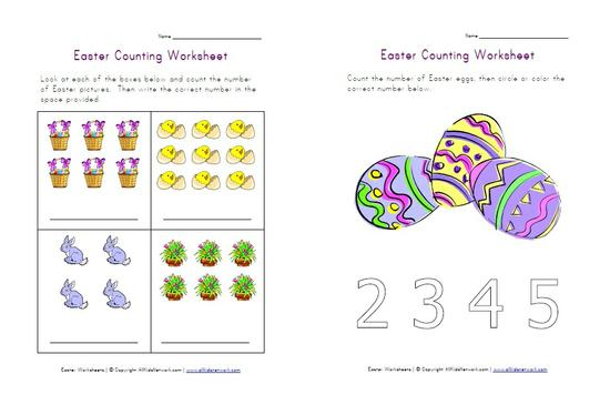 Spring Easter Math Counting Preschool Printable