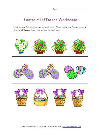 Spring Easter Opposites Same and Different Preschool Worksheet