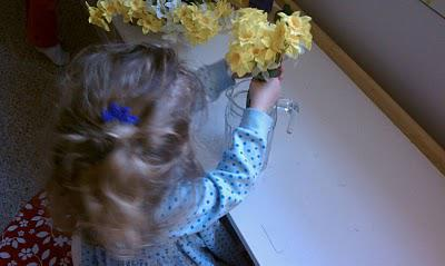 arranging flowers preschool spring garden activity