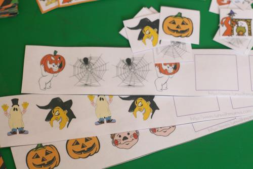 Halloween Math Sequencing and Patterning Preschool Printable