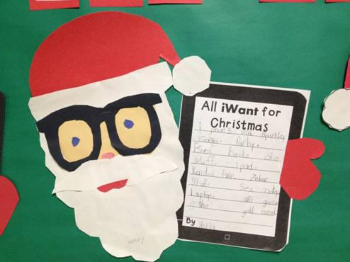 Christmas Writing and Technology Themed Bulletin Board Idea