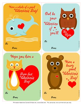 printable animal valentines cards