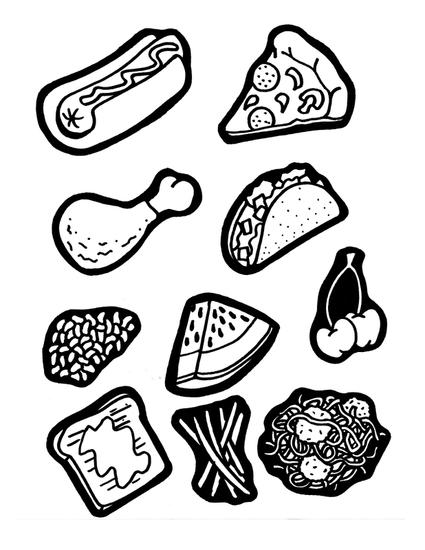 worksheet with hand drawn pictures of common foods