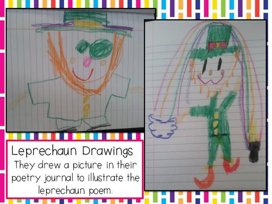 Students Leprechaun Drawings Using Shapes