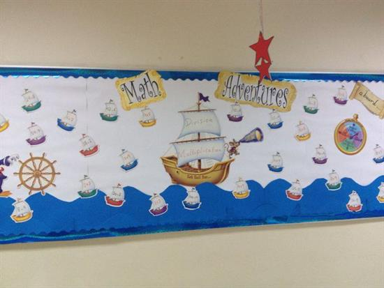 Nautical Themed Interactive Math Bulletin Board Idea