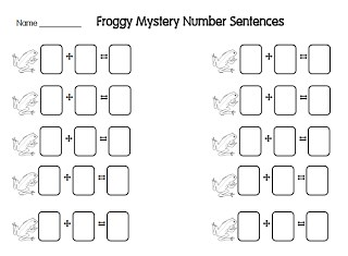 Frog Number Sentences for Fact Family Practice