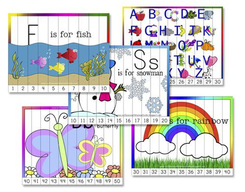 Number Recognition Ordering Puzzle Preschool Printables