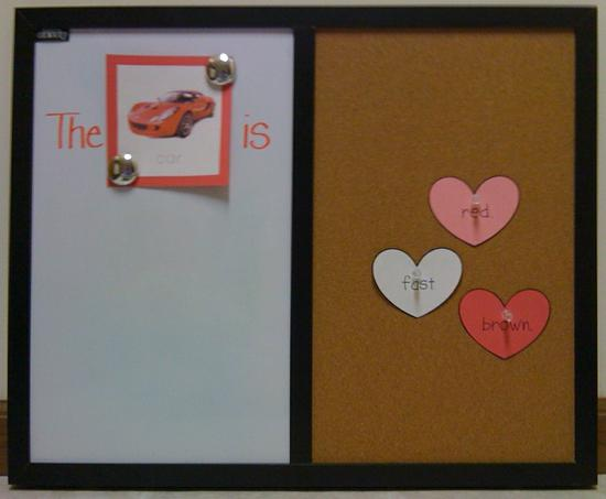 dry erase and corkboard valentines day writing activity