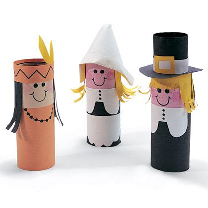 Recycled Paper Roll Thanksgiving Craft for Kids