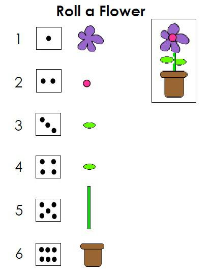 preschool printable roll a flower math game