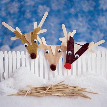 rudolph and other reindeer craft stick ornaments
