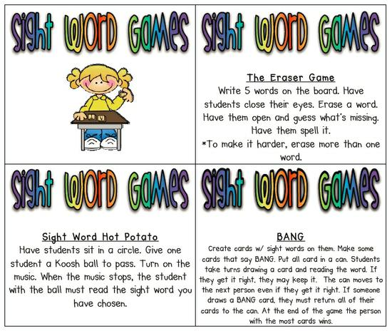 Sight Word Literacy Learning Game Kindergarten Lesson Plan