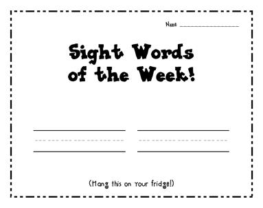 Fridge Worksheet for Sight Word Practice