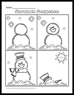 graphic about Sequencing Pictures Printable titled Snowman Sequencing - Free of charge Printable Worksheet for 1st Quality