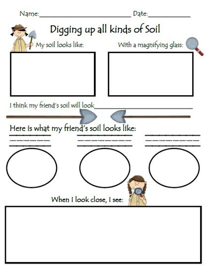 exploring nature soil preschool printable