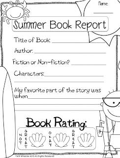 Book Reports for Summer Activity Example