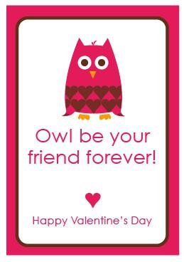 printable owl valentine card
