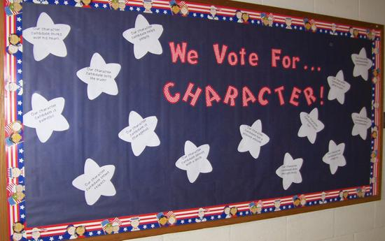 November Election Day and Character Building Bulletin Board Idea