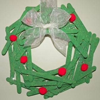 craft stick holly berry wreath